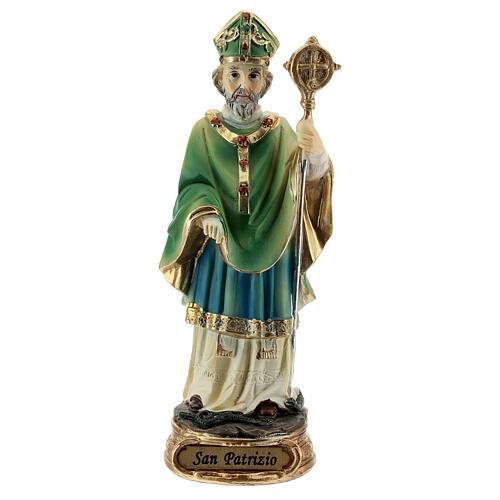 Imagem resina São Patrício com báculo episcopal 13 cm 1