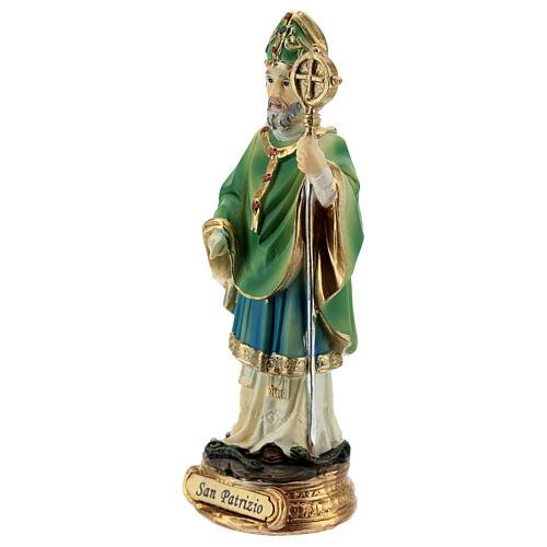 Imagem resina São Patrício com báculo episcopal 13 cm 2