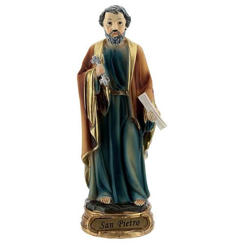 San Pietro chiavi libro statua resina 12 cm 1