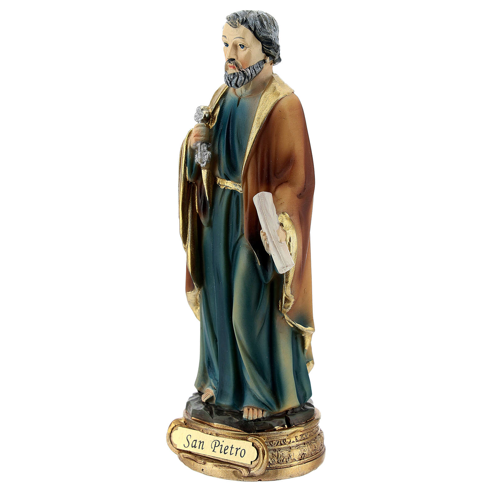 Saint Peter statue with key and scroll, resin 12 cm 4