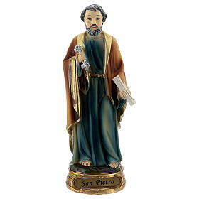 Saint Peter statue with key and scroll, resin 12 cm s1