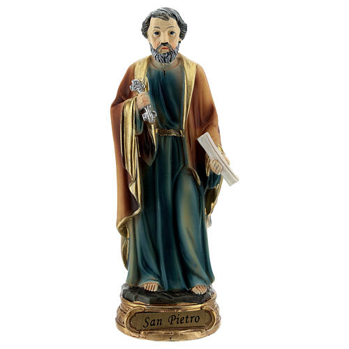 Saint Peter statue with key and scroll, resin 12 cm 1