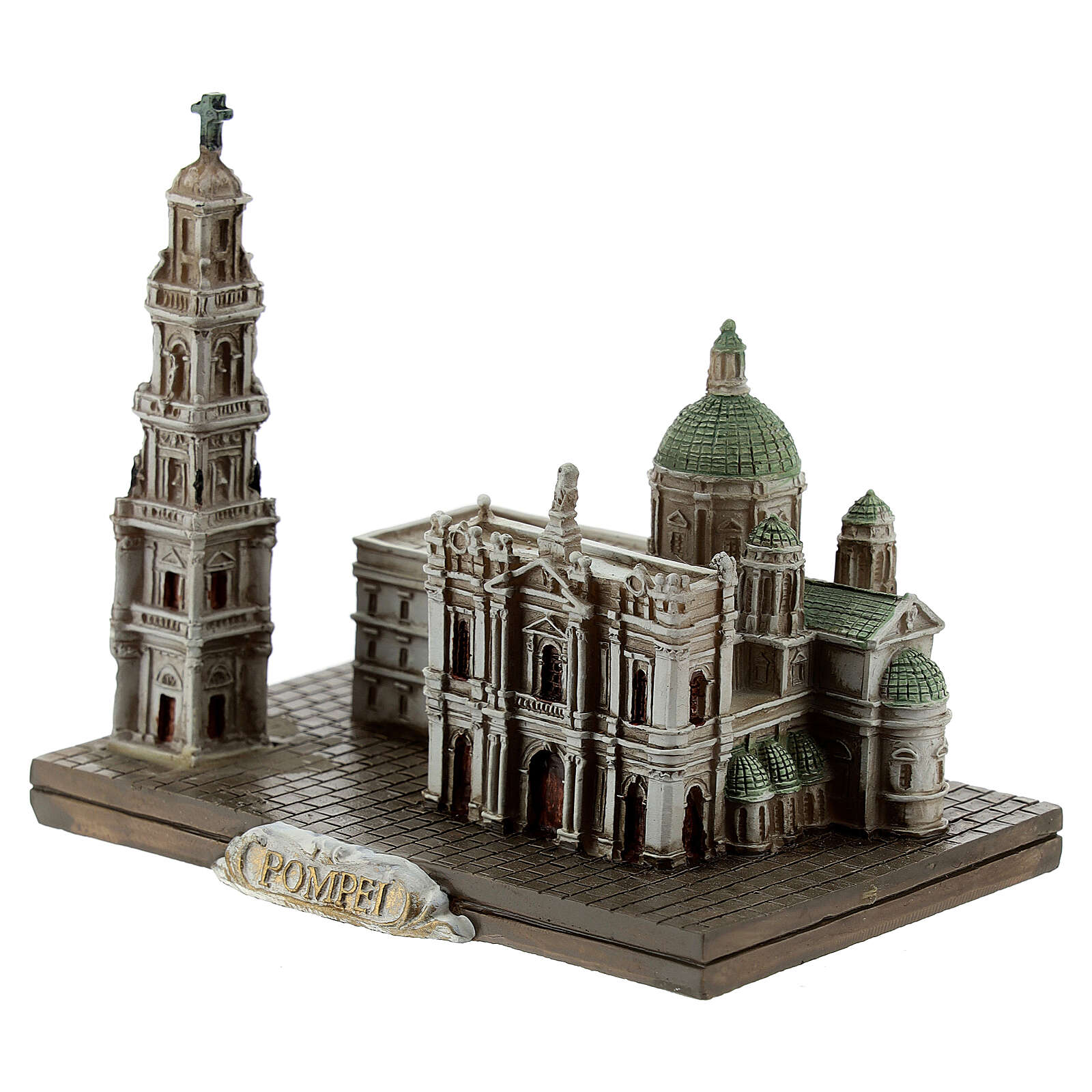 Miniature of the Shrine of the Blessed Virgin of the Rosary of Pompei resin 8x9.5x6 cm 4