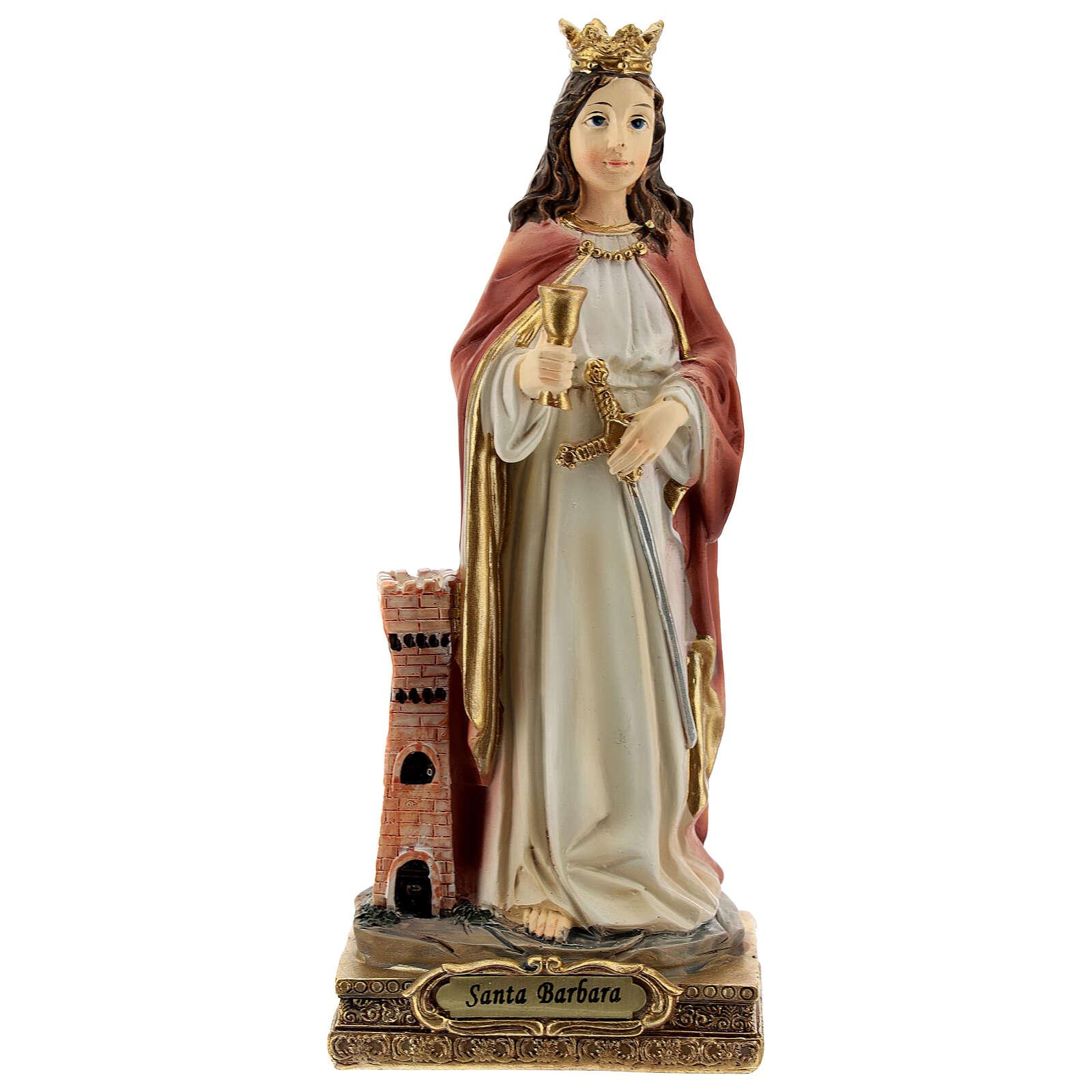 Santa Barbara torre statua resina 15 cm 4
