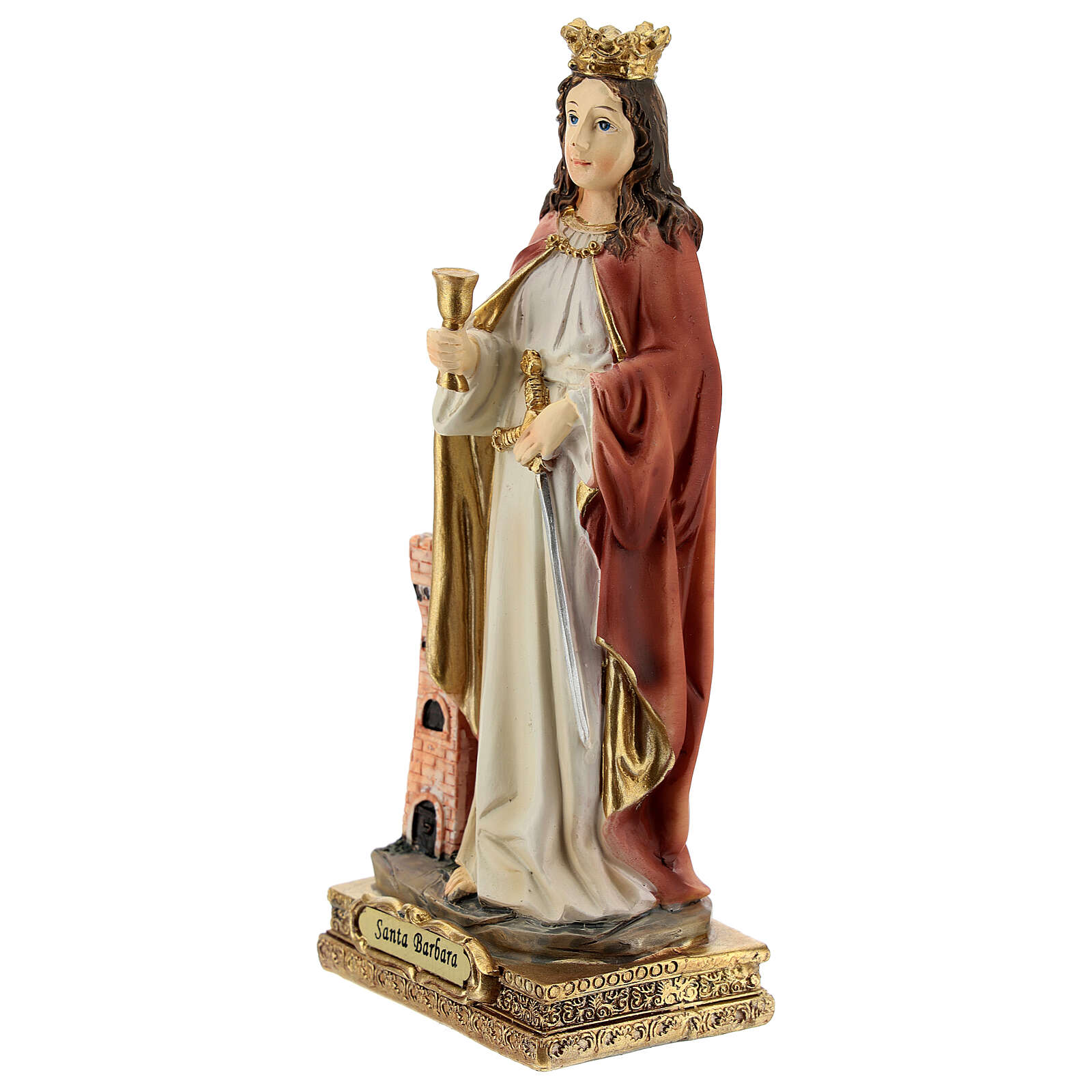 St Barbara statue with tower, in resin 15 cm 4