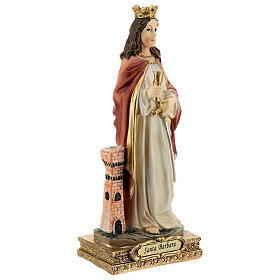 St Barbara statue with tower, in resin 15 cm s3