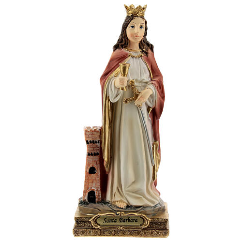St Barbara statue with tower, in resin 15 cm 1