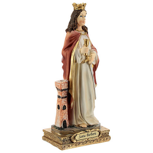 St Barbara statue with tower, in resin 15 cm 3