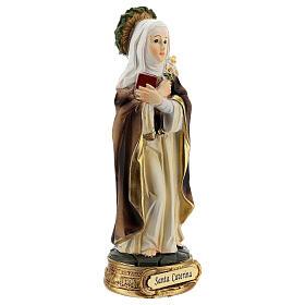 Santa Caterina Siena corona espinas lirio estatua resina 12 cm s3