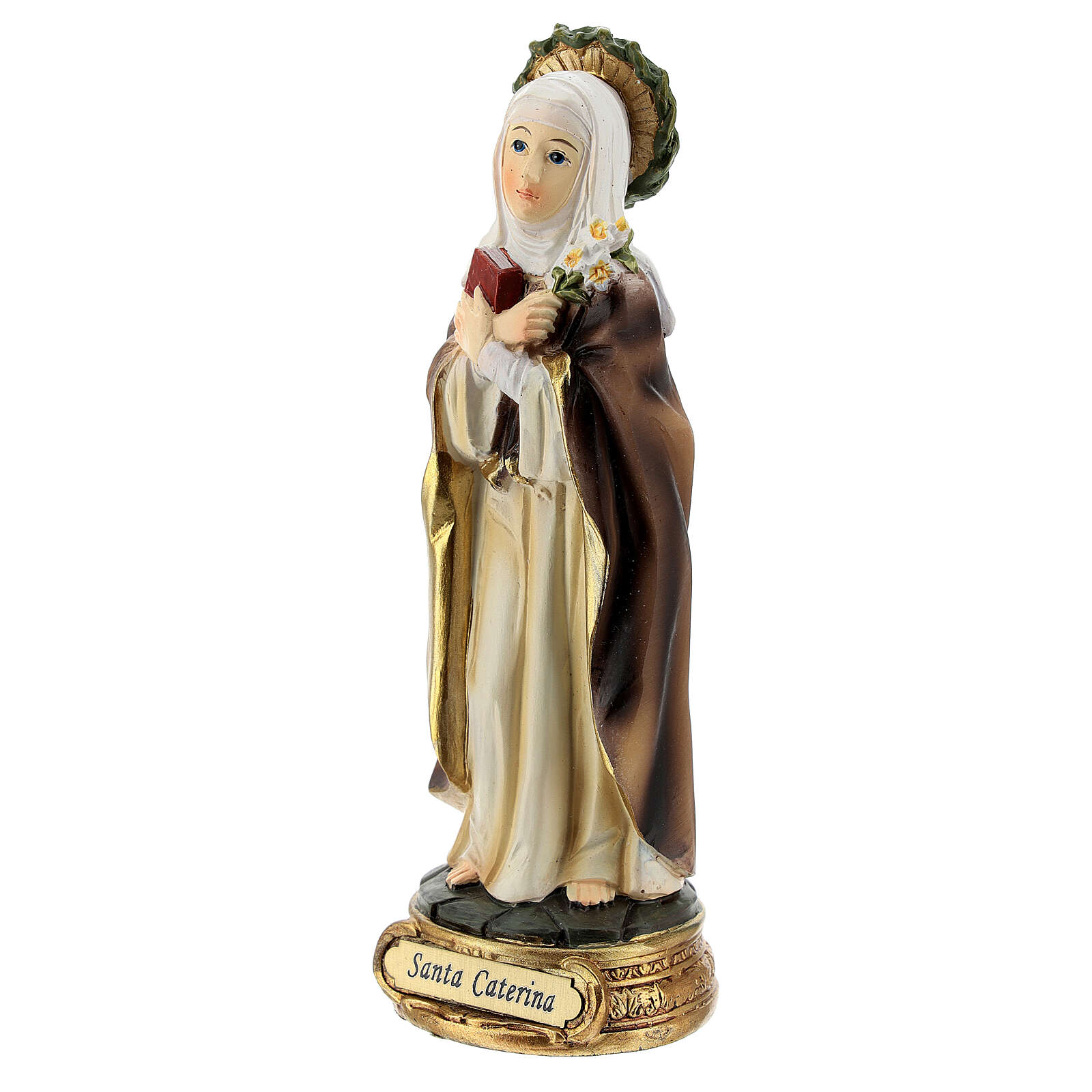 Sainte Catherine de Sienne couronne épines lys statue résine 12 cm 4