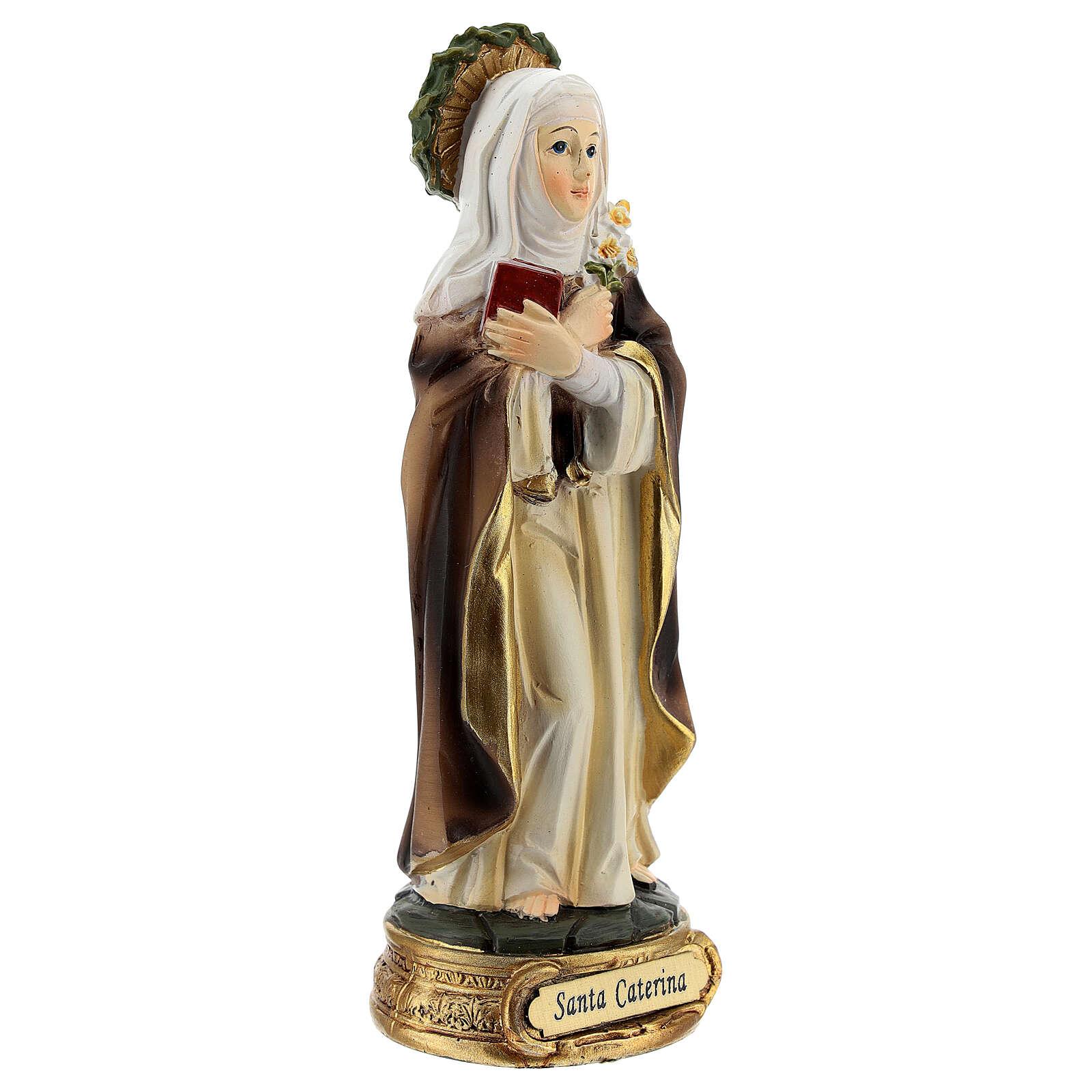 Santa Catarina de Siena com coroa de espinhos e lírios imagem resina 12,5 cm 4