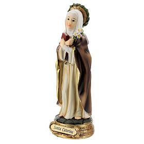 Santa Catarina de Siena com coroa de espinhos e lírios imagem resina 12,5 cm s2