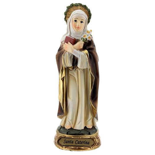 Santa Catarina de Siena com coroa de espinhos e lírios imagem resina 12,5 cm 1