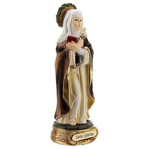 Santa Catarina de Siena com coroa de espinhos e lírios imagem resina 12,5 cm 3