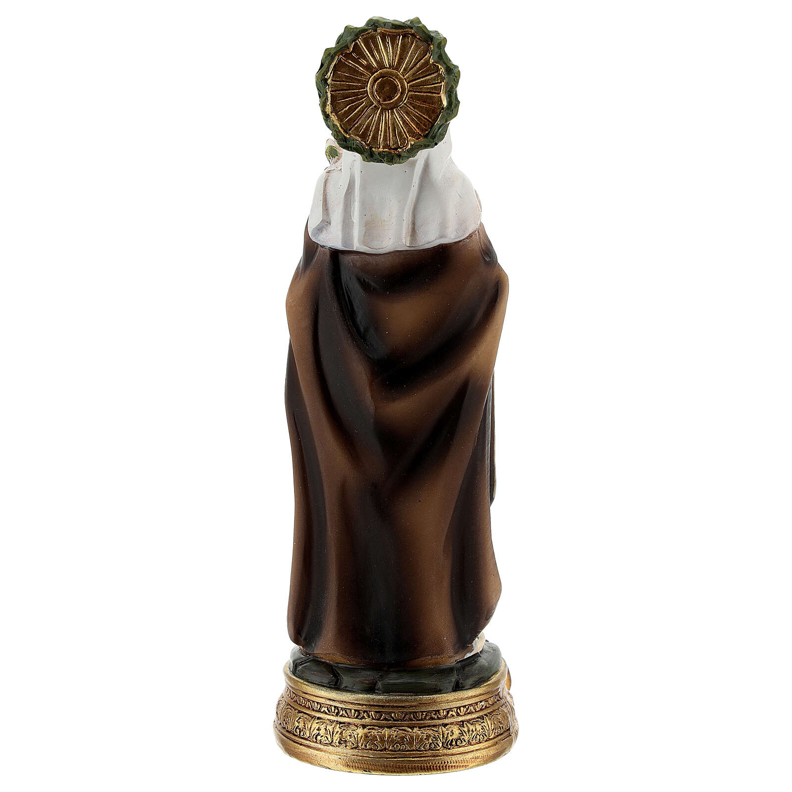 Saint Catherine of Siena statue, 12 cm with lily and book resin 4