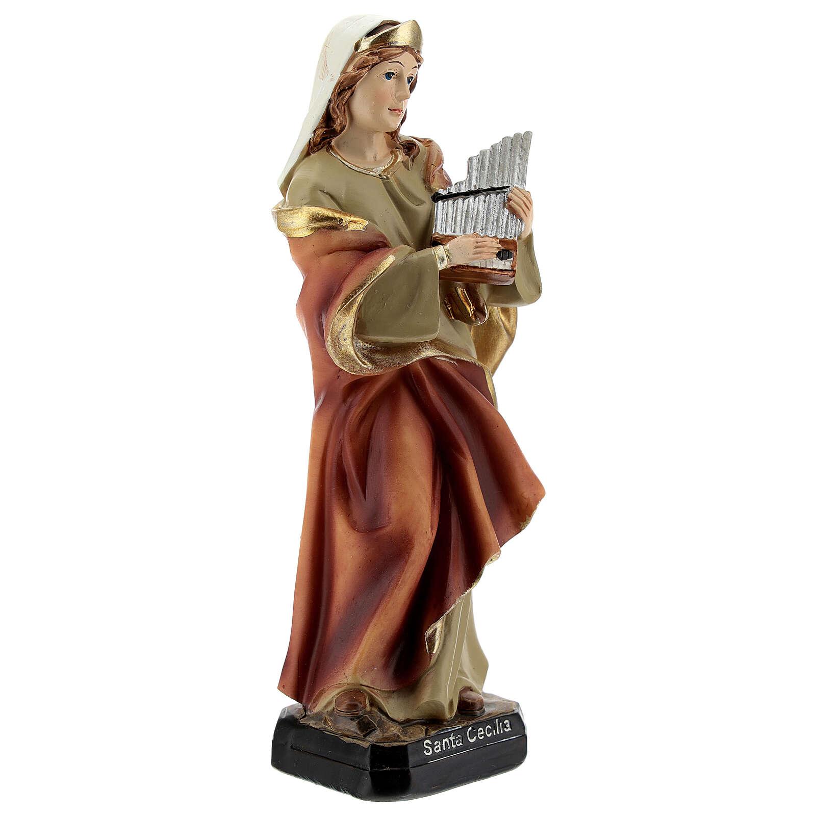 Santa Cecilia organo statua resina 15 cm 4