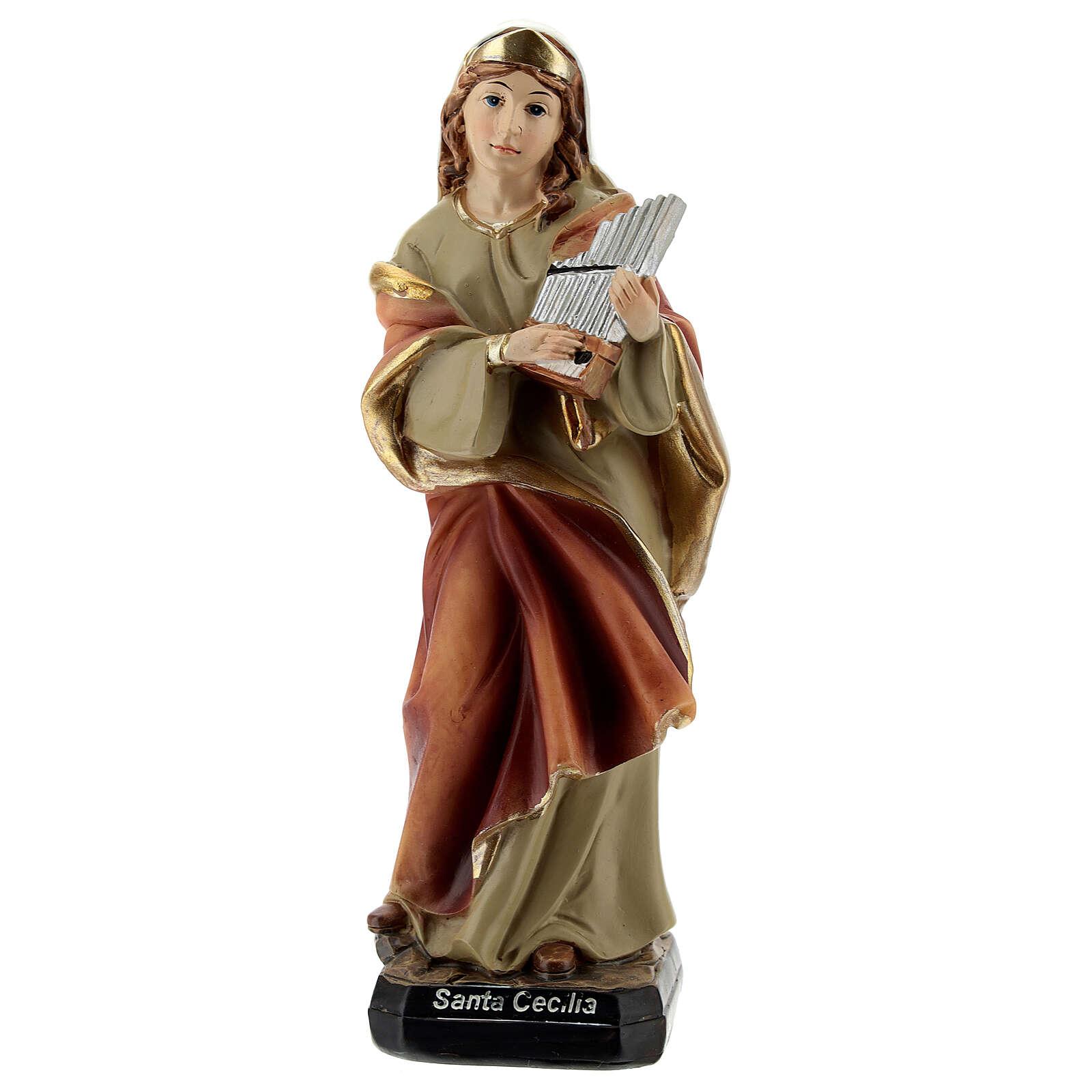 Santa Cecília com órgão imagem resina 15 cm 4