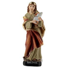 Santa Cecília com órgão imagem resina 15 cm s1