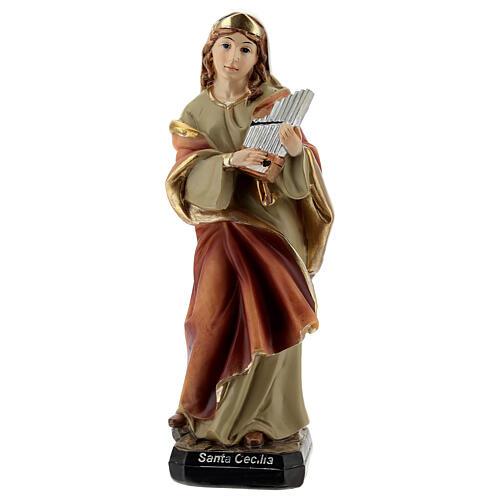 Santa Cecília com órgão imagem resina 15 cm 1