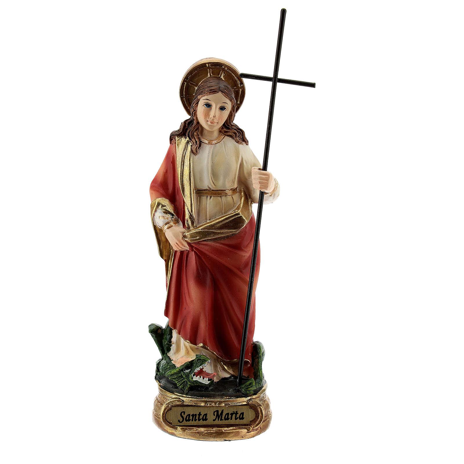Santa Marta domando a Tarasca imagem resina 12,5 cm 4