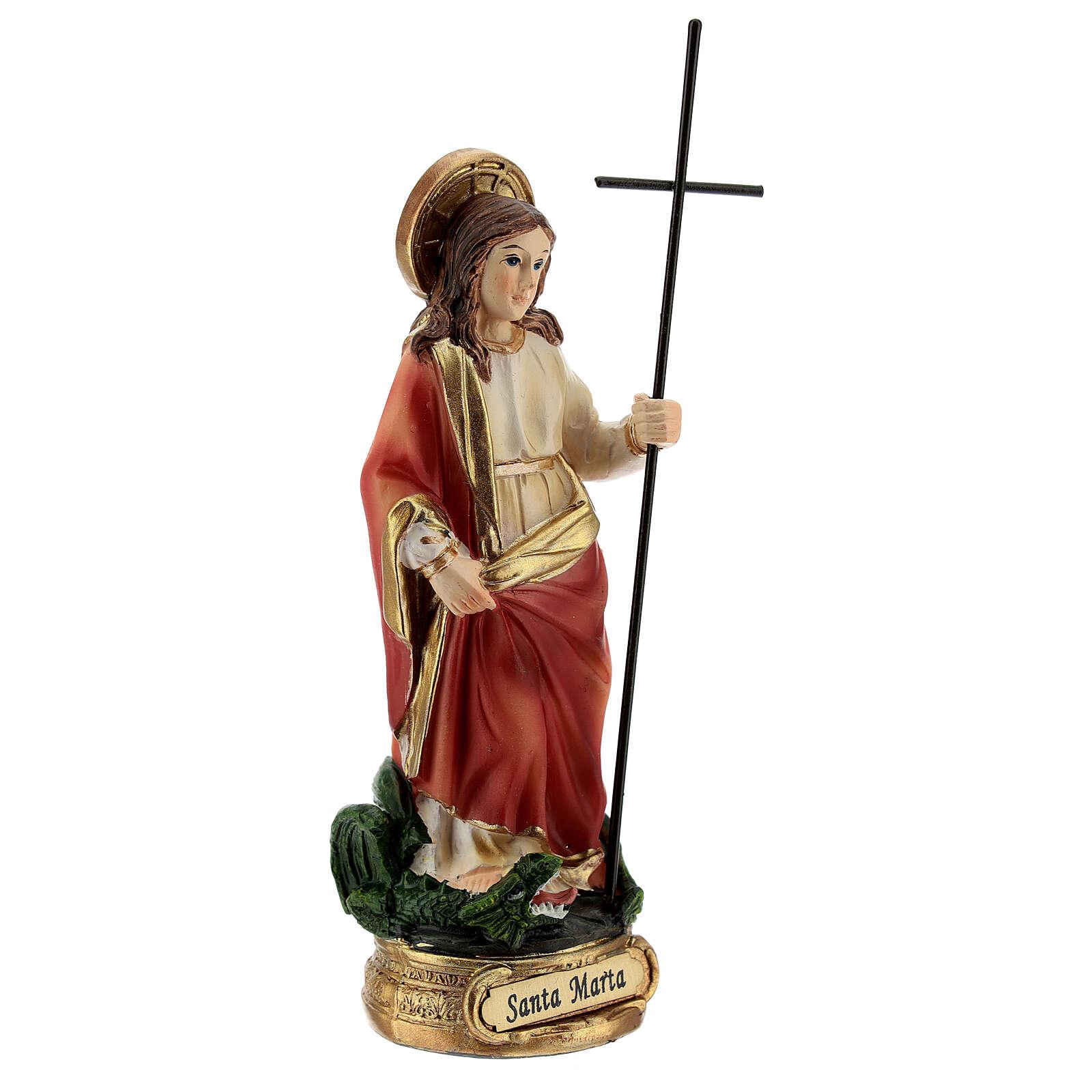 St Martha statue defeats Tarasque, resin 12 cm 4