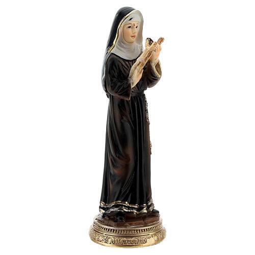 Santa Rita cruz madera estatua resina 10 cm