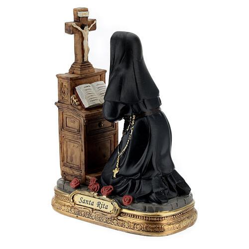Saint Rita kneeling resin statue 12 cm 3