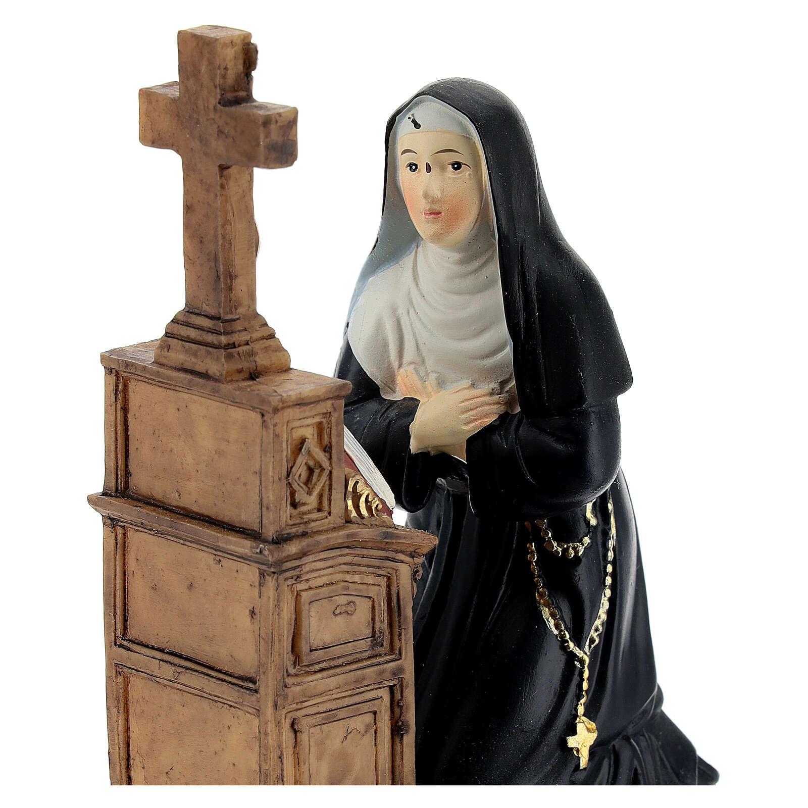 Święta Rita klęcząca figura żywica 12 cm 4