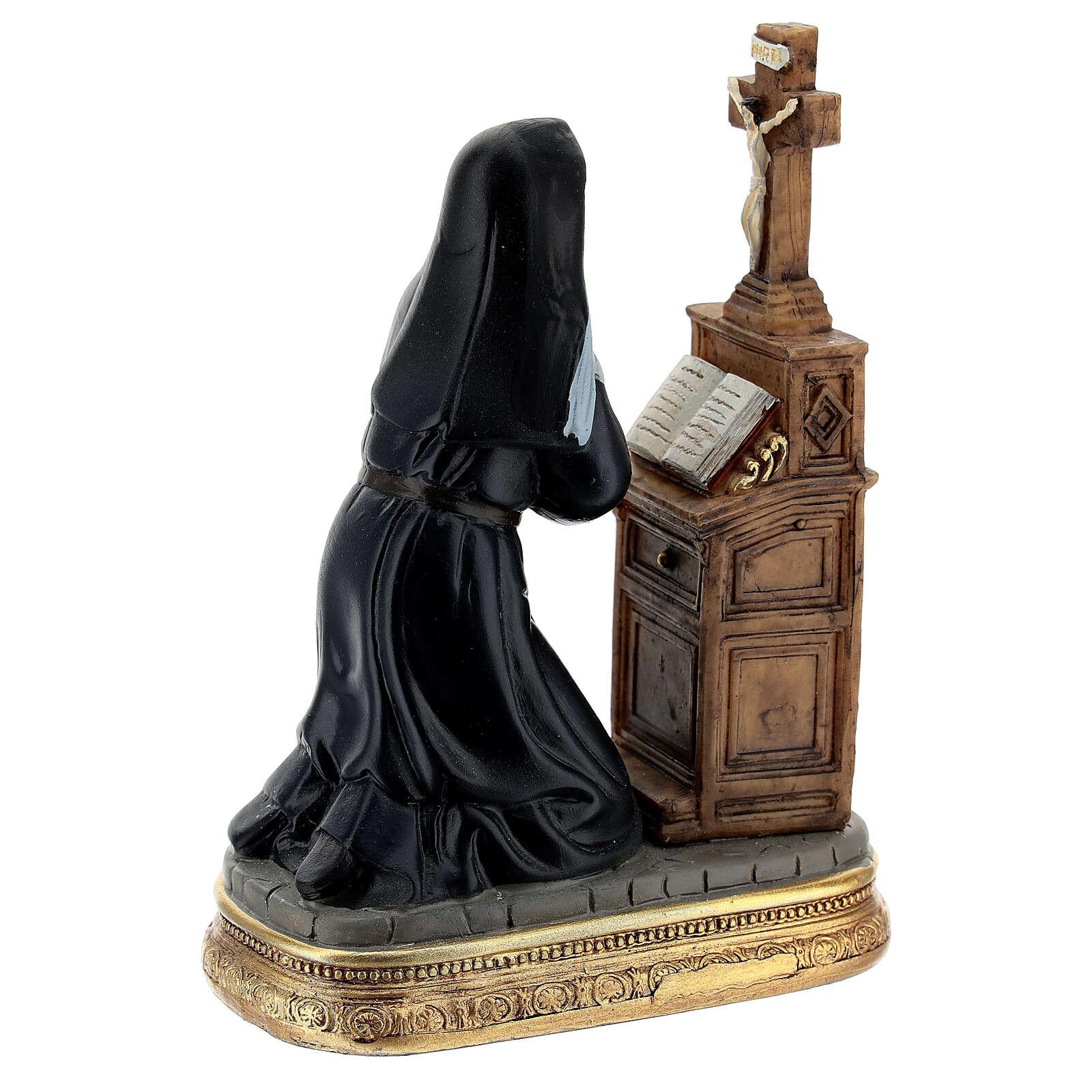Kneeling St Rita statue, 12 cm resin 4