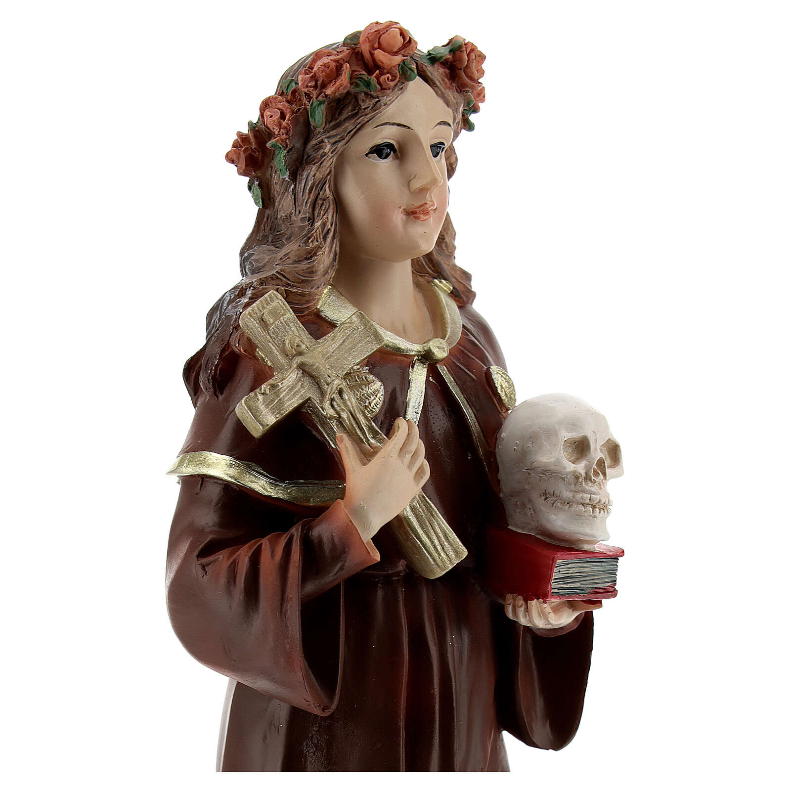 St Rosalia statue with cross skull book, 21 cm resin 4
