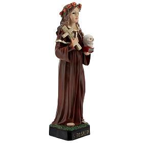 St Rosalia statue with cross skull book, 21 cm resin s4