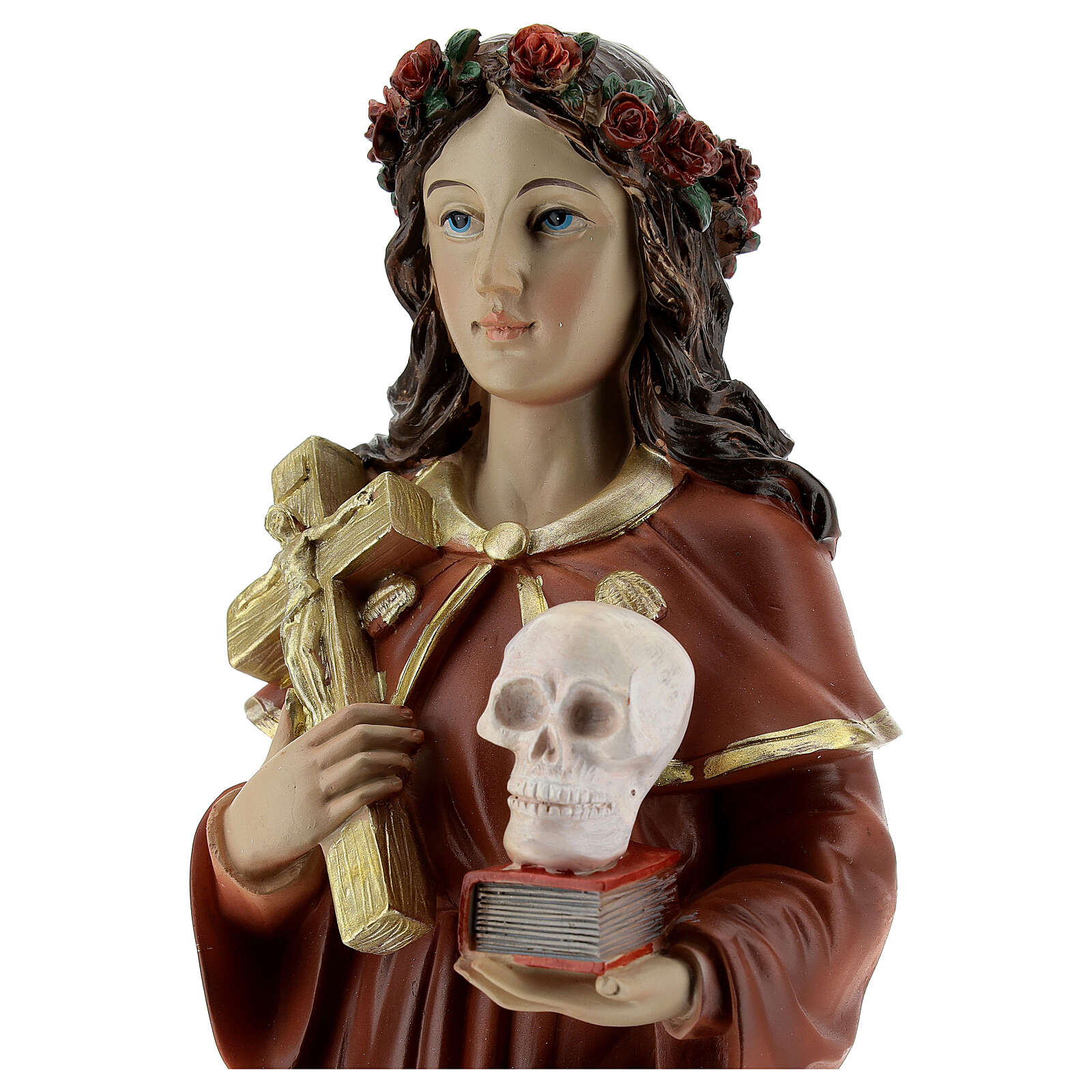 Statua Santa Rosalia corona rose teschio resina 32 cm 4