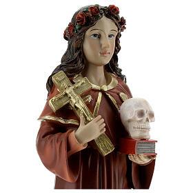 Statua Santa Rosalia corona rose teschio resina 32 cm s2