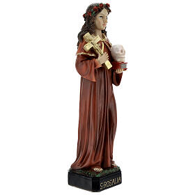 Saint Rosalia statue with rose crown skull, 32 cm resin s5