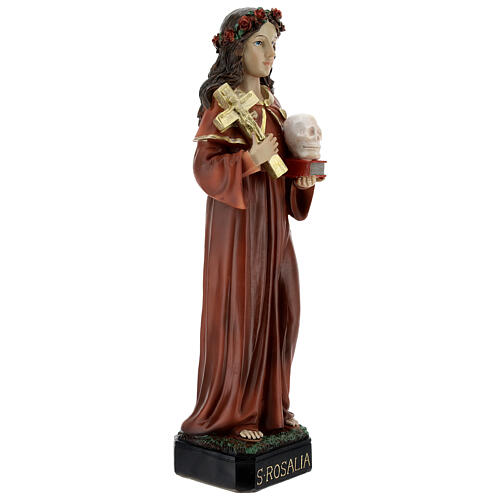 Saint Rosalia statue with rose crown skull, 32 cm resin 5