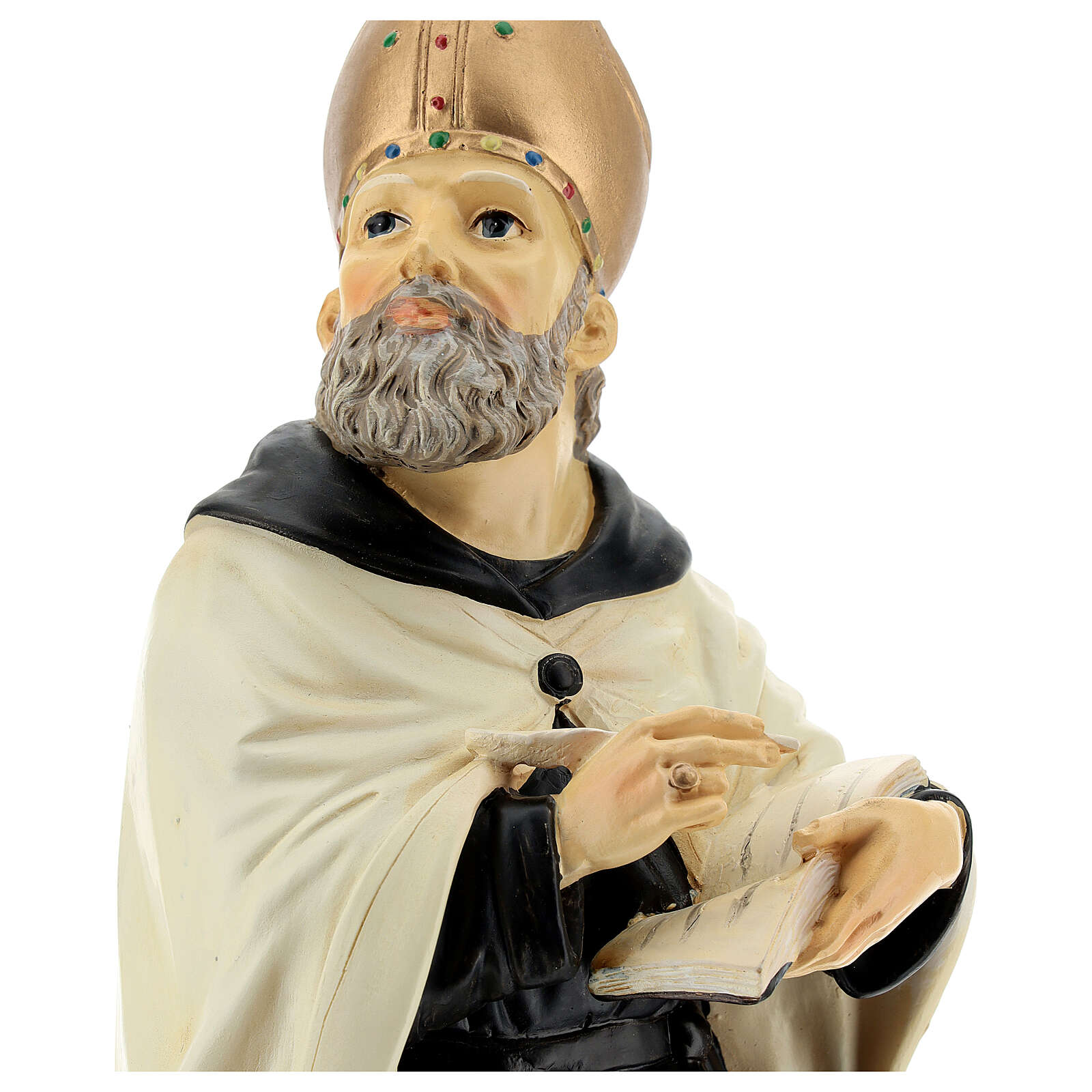Busto San Agostín mitra dorada resina 32 cm 4