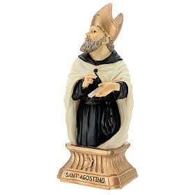 Busto Sant'Agostino mitra dorata resina 32 cm s3