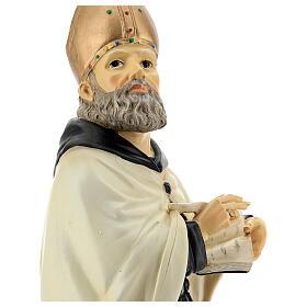 Busto Sant'Agostino mitra dorata resina 32 cm s4