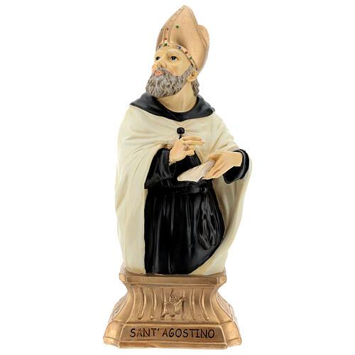 Busto Sant'Agostino mitra dorata resina 32 cm 1