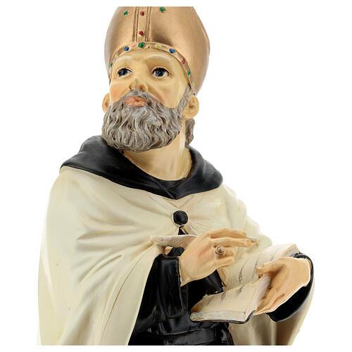 Busto Sant'Agostino mitra dorata resina 32 cm 2