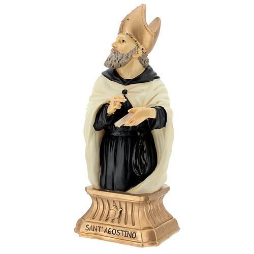 Busto Sant'Agostino mitra dorata resina 32 cm 3