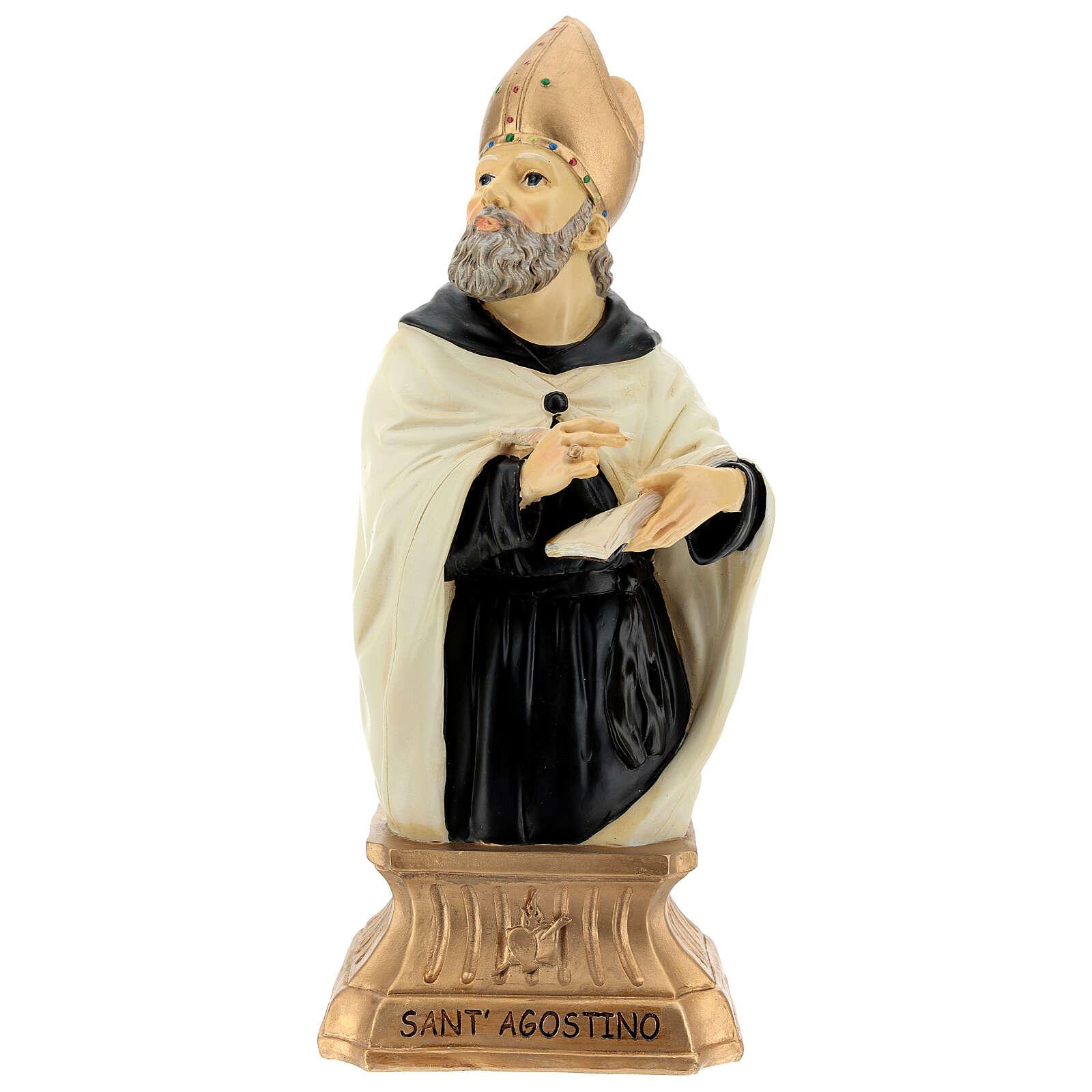 Busto Santo Agostinho mitra dourada resina 32 cm 4