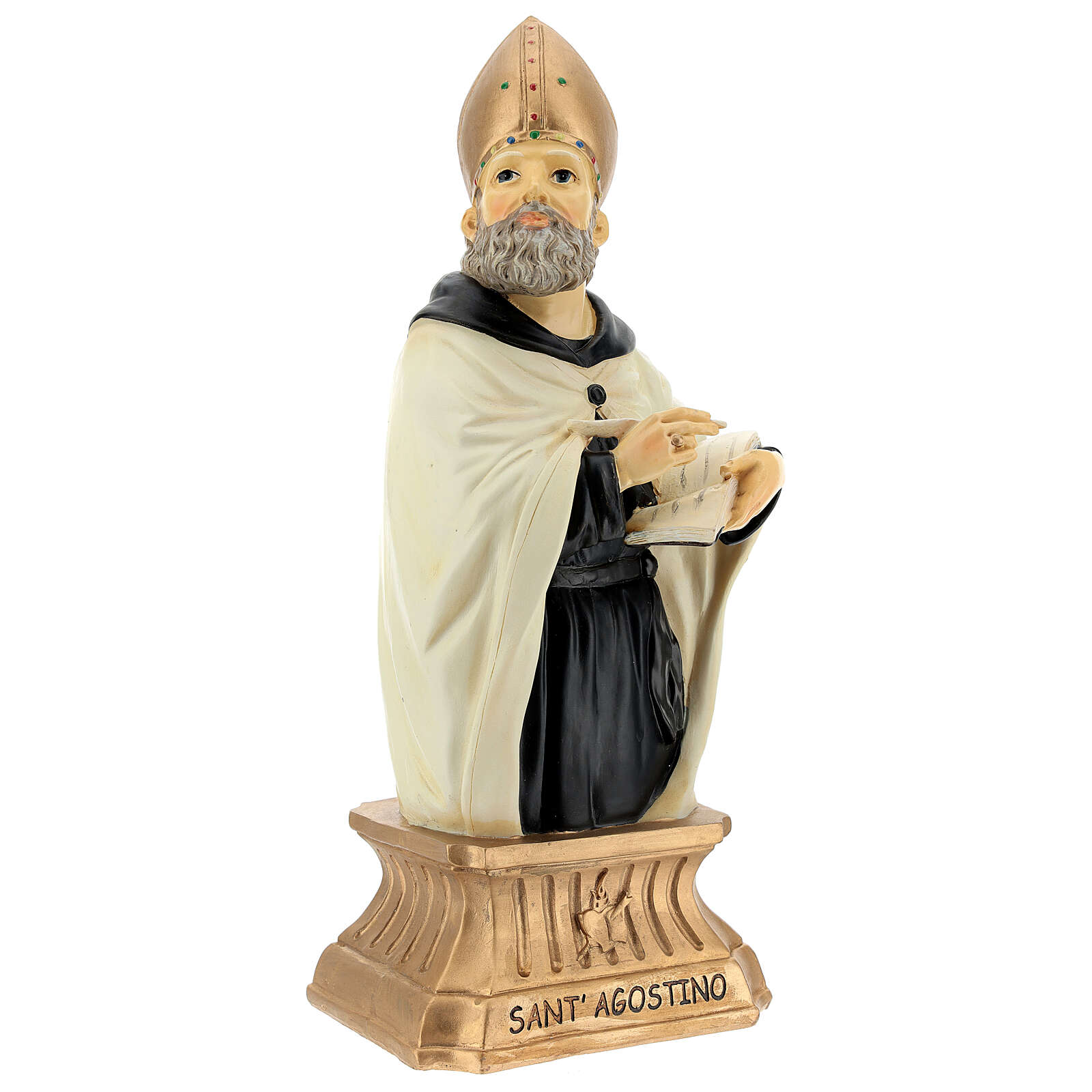 St Augustine Hippo Bust, 32 cm with mitre golden resin 4