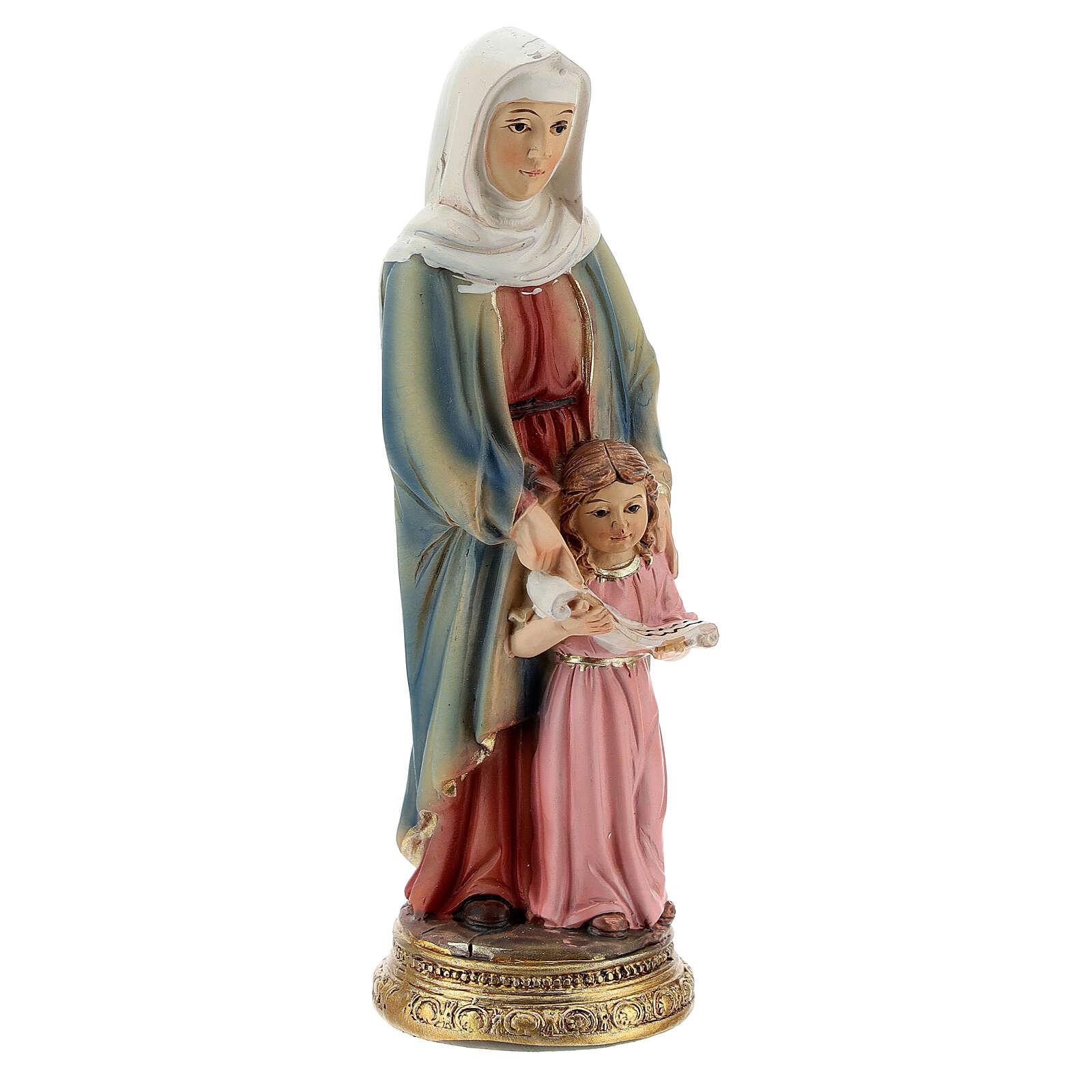Sant'Anna con Maria bambina statua resina 10 cm 4