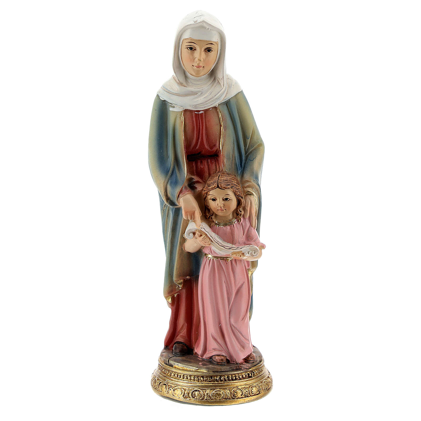 St Anne and child Mary resin statue, 10 cm 4