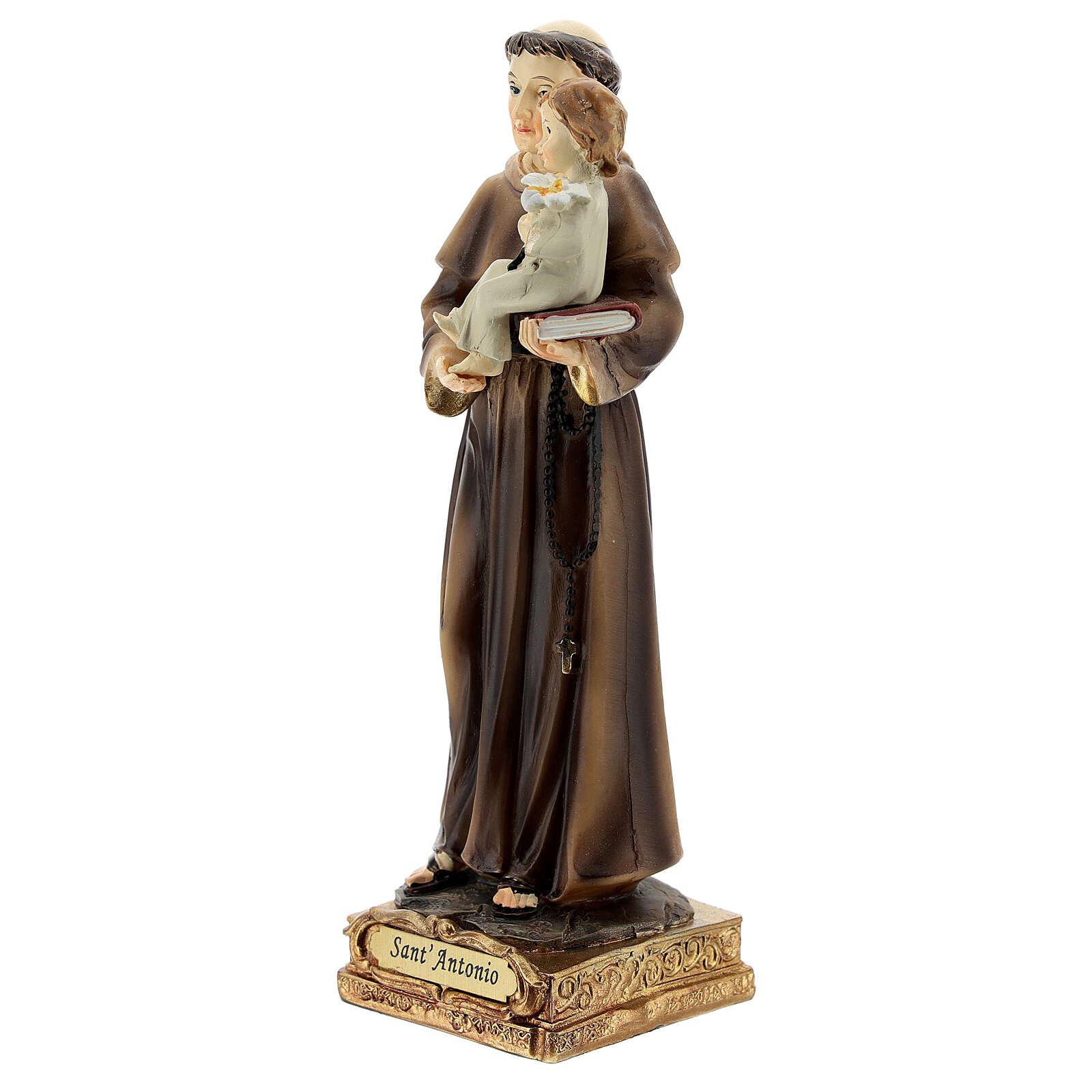 Saint Antoine de Padoue base dorée statue résine 15 cm 4
