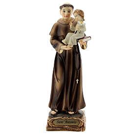 Saint Antoine de Padoue base dorée statue résine 15 cm s1