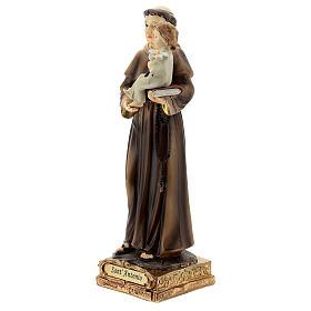 Saint Antoine de Padoue base dorée statue résine 15 cm s2