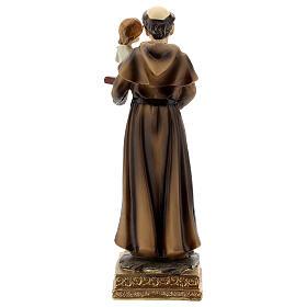 Saint Antoine de Padoue base dorée statue résine 15 cm s4