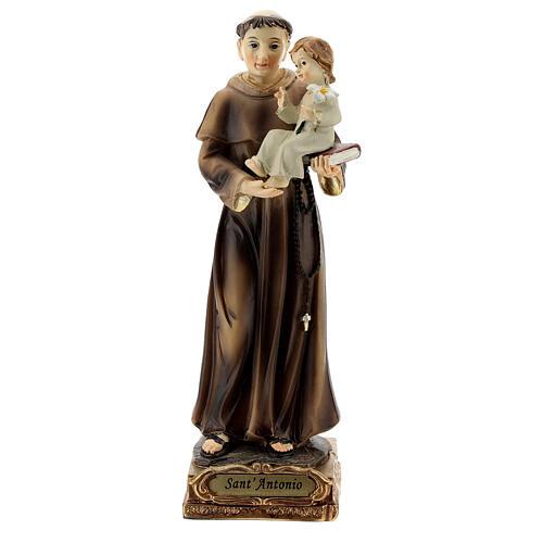 Saint Antoine de Padoue base dorée statue résine 15 cm 1